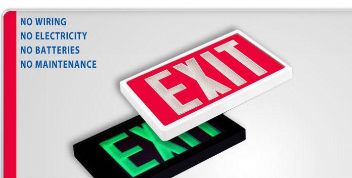 SRB Technologies :: Self-Luminous Exit Signs - No Batteries, No ...
